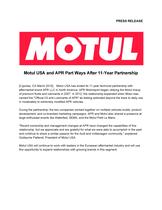 Motul USA and APR Part Ways After 11-Year Partnership