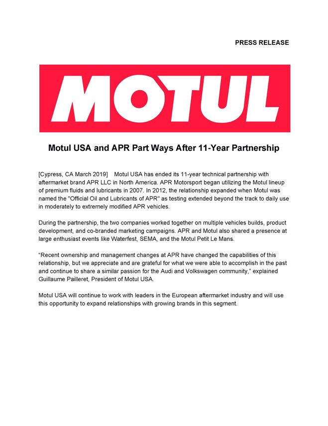 Motul USA and APR Part Ways After 11-Year Partnership