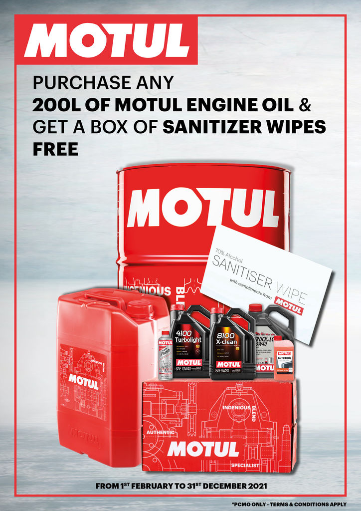 MOTUL WORKSHOP: PURCHASE ANY 200L OF MOTUL ENGINE OIL & GET A BOX OF SANITIZER WIPES FREE