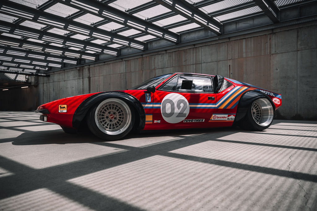 Meet the De Tomaso Pantera in a Group 4 Rally trim. A tribute to an iconic race car.