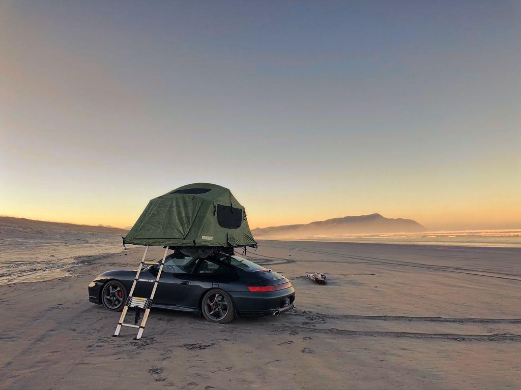 Wild camping. In a Porsche